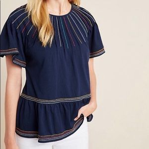 Anthropologie Maeve Embroidered Stitch Swing Top